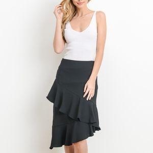 Dresses & Skirts - NEW Asymmetrical  Ruffle Hem Skirt Black